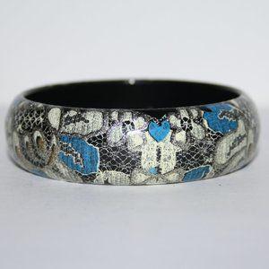 Pretty lacey black blue and silver bangle bracelet